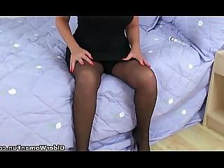 Mature Mammy Black HD Granny Dress Cougar Stocking