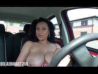 Nasty MILF Car Boobs Beauty Playing Tease