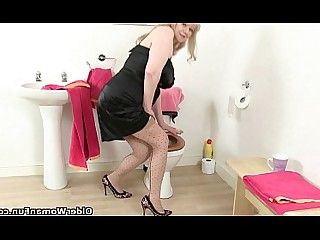 Toilet Stocking Oil Mature HD Granny Cougar Bathroom