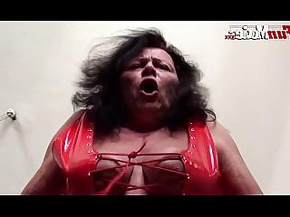 Hot Granny Fatty Latex Fetish Licking Masturbation Mature