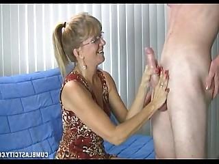 Party MILF Mature Jerking Huge Cock Hot Handjob Granny