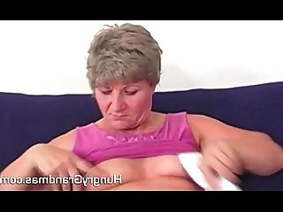 Dildo Granny Masturbation Mature Playing Pussy