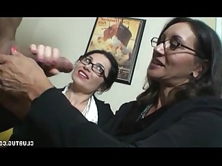 MILF Mature Jerking Handjob Glasses Double Penetration Brunette Ass