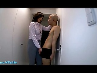 Nude Office Skirt Slender Stocking Uniform Bus Busty