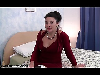 Stocking Playing Nylon MILF Mature Granny Dildo Anal