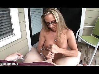 Horny MILF Big Cock Mature Jerking Handjob