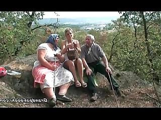 Babe Blonde Blowjob Fuck Granny Mature Outdoor Threesome