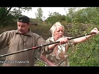 Blonde Blowjob Couple Granny Mature Natural Outdoor Funny