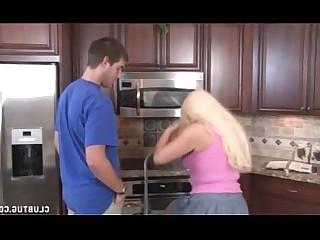 Blonde Handjob Jerking Kitchen MILF