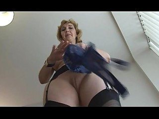 Solo Stocking Tease Striptease Upskirt Babe Blonde Boobs