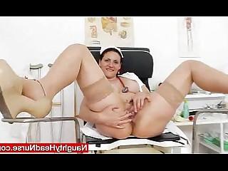 Fingering Mammy Wife Uniform Redhead MILF Mature Masturbation