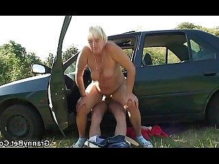Car Gang Bang Granny Housewife Mammy Mature Old and Young Teen