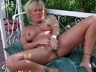 Blonde Masturbation MILF Outdoor